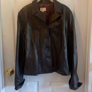 Cache 14 button down black leather vintage jacket